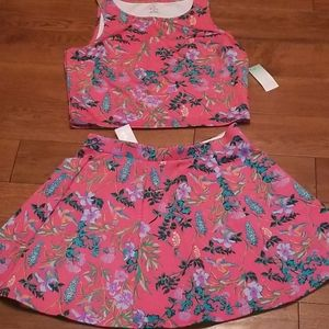 Cute flowy skirt set coral brand new